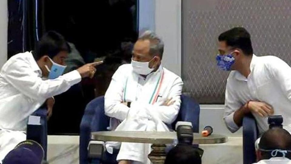 Rajasthan chief minister Ashok Gehlot and deputy CM Sachin Pilot during a joint press conference in Jaipur.