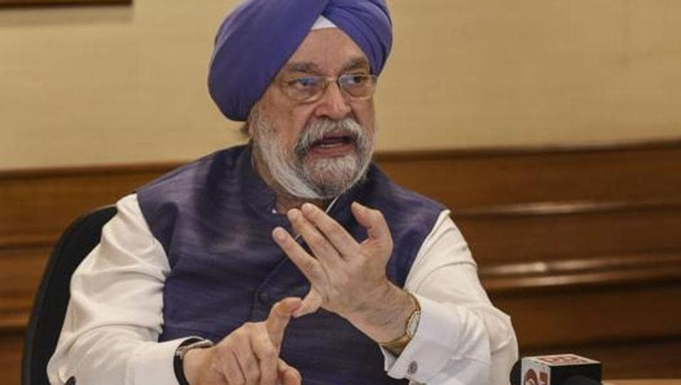 Union housing minister Hardeep Singh Puri at a press conference in New Delhi.