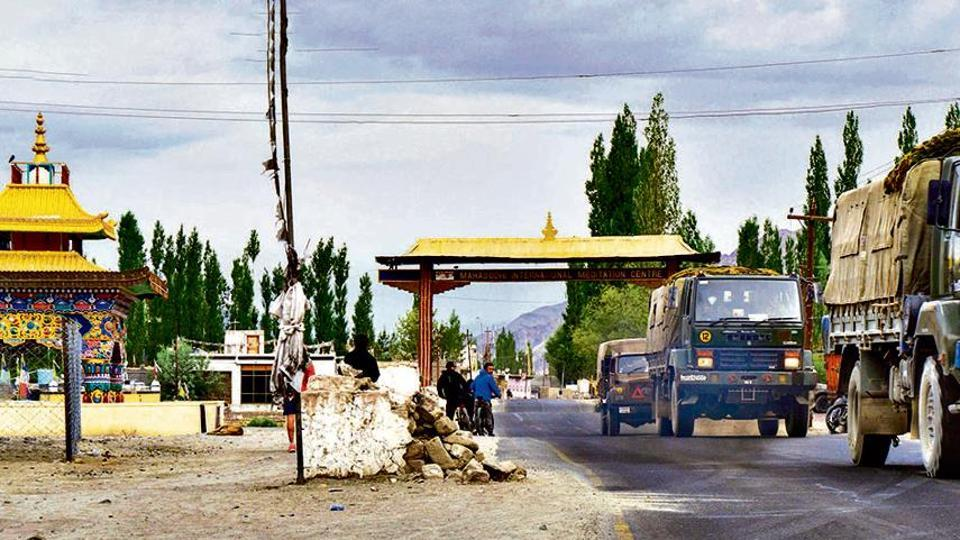 An army convoy moves towards the LAC in Ladakh on  July 12.