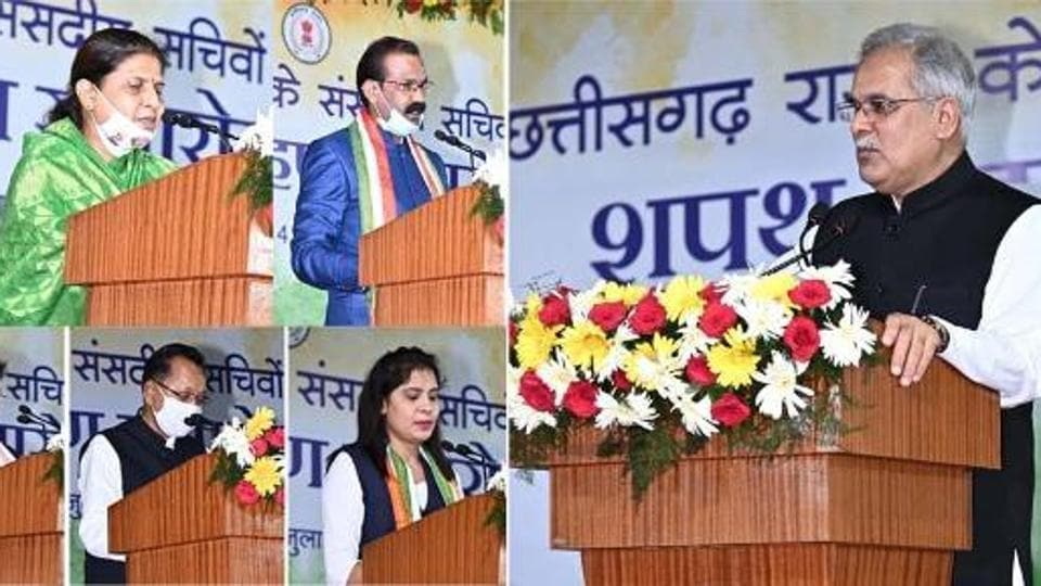 Chhattisgarh chief minister Bhupesh Baghel administered the oath to 15 parliamentary secretaries on Tuesday.