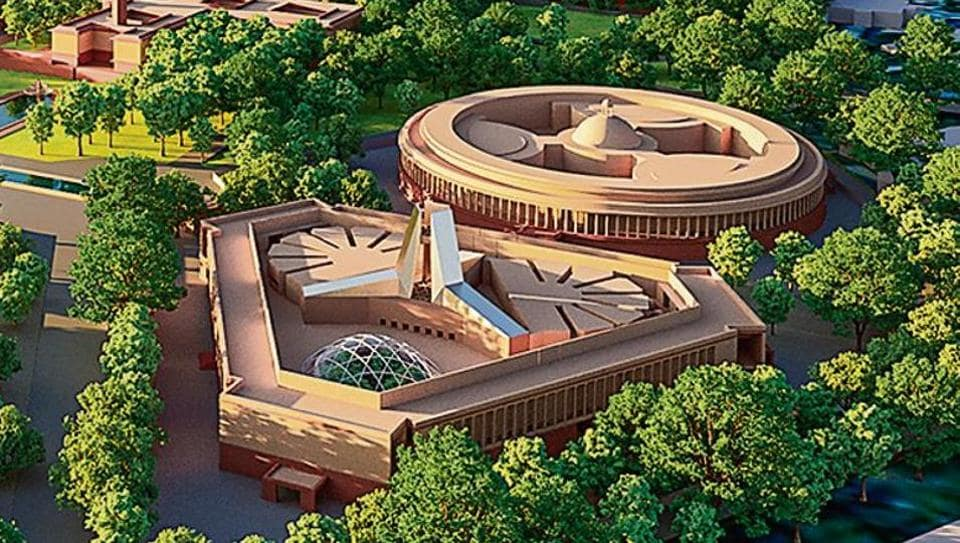 The current design envisages a new triangular Parliament building next to the existing complex. Source from Anisha Dutta HT.