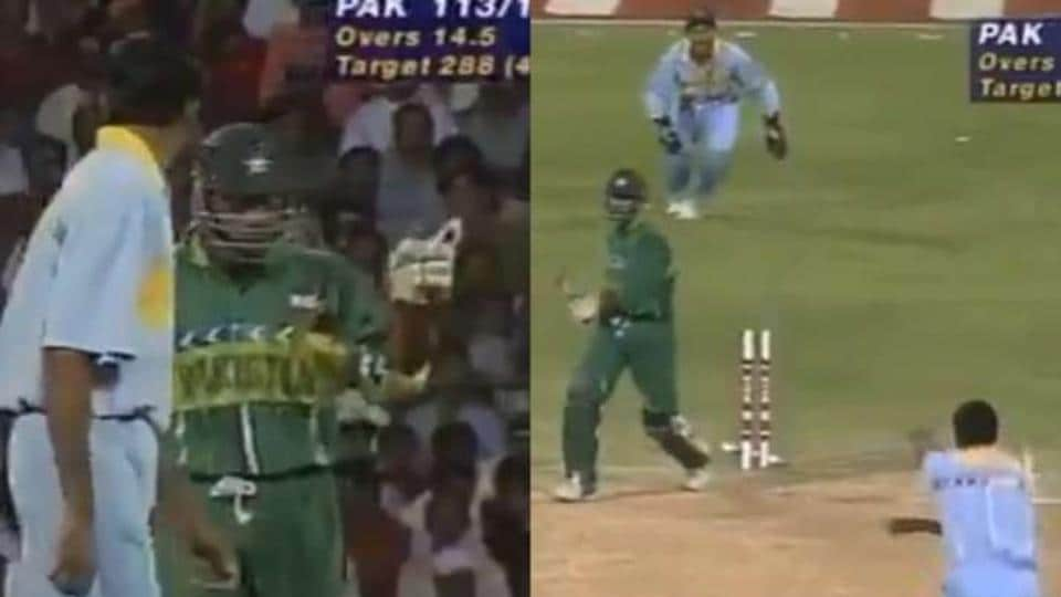 Venkatesh Prasad and Aamer Sohail clash during the 1996 World Cup.