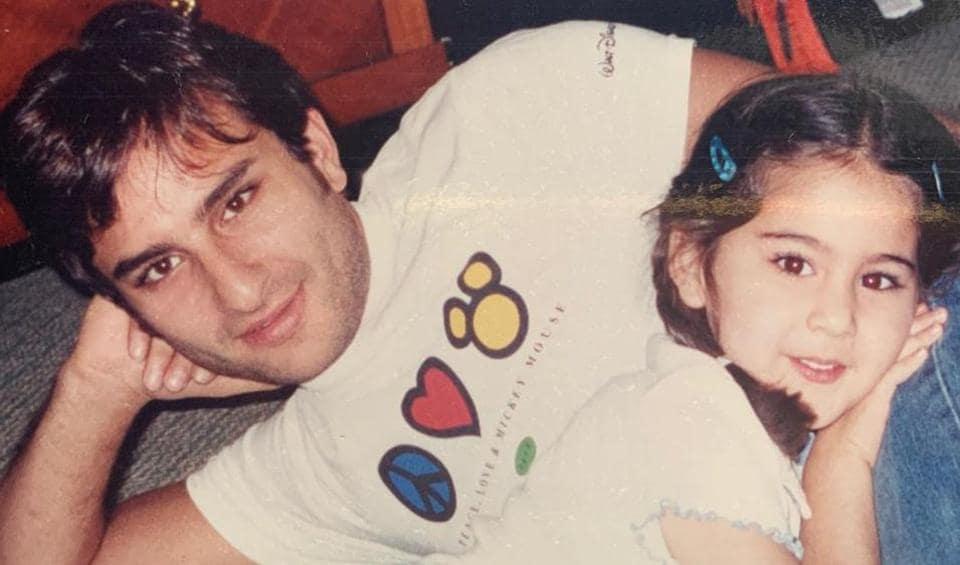 Sara Ali Khan with father Saif Ali Khan.