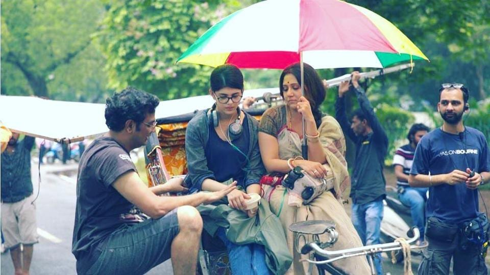 Mukesh Chhabra, Sanjana Sanghi and Swastika Mukherjee on sets of Dil Bechara.