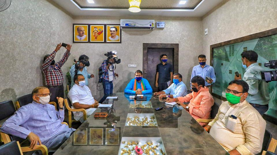 Rajasthan BJP President Satish Poonia with senior party leaders during a meeting in Jaipur on Tuesday.