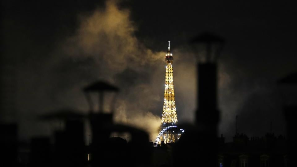 The Eiffel Tower is pictured after the fireworks celebrating the Bastille Day, late Tuesday, July 14, 2020.  (AP)