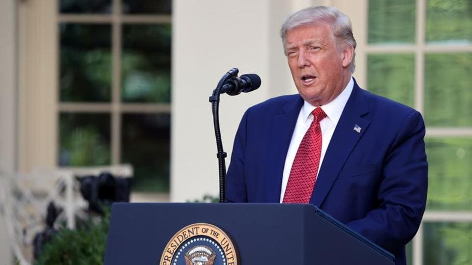 US President Donald Trump speaks during a news conference in the Rose Garden at the White House in Washington.