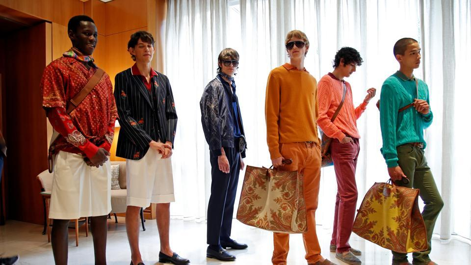Models are seen at the backstage of the Etro Spring/Summer 2021 Men's collection and Women's pre-collection livestreamed show at the Four Seasons hotel, amid the coronavirus disease (COVID-19) outbreak, during Milan Digital Fashion Week in Milan, Italy, July 15, 2020.  (REUTERS)