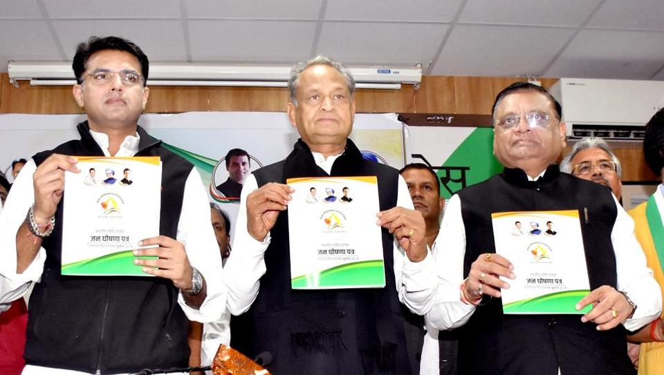 CM Ashok Gehlot with Sachin Pilot and AICC General Secretary and incharge Rajasthan Avinash Pande at Congress election manifesto release in on November 29, 2018.