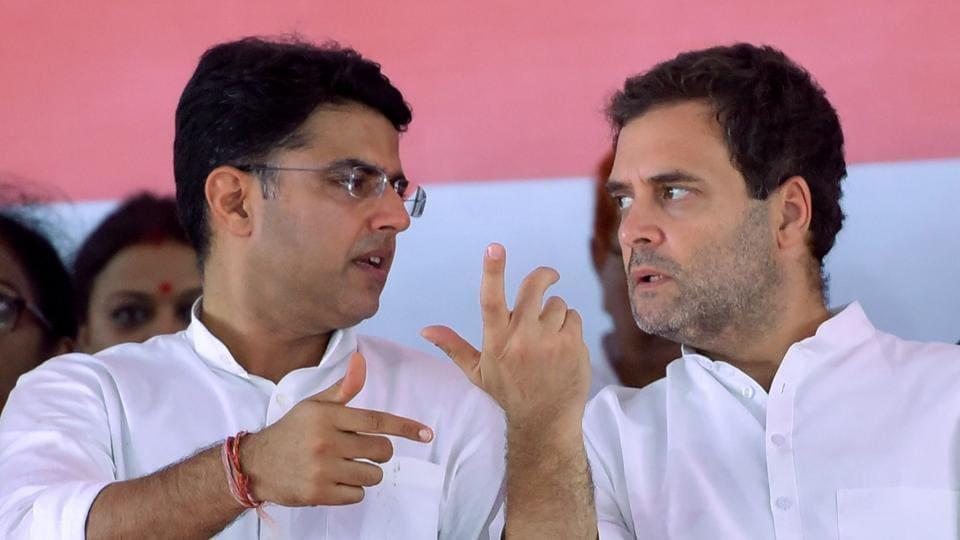 Congress leader Sachin Pilot with former Congress chief Rahul Gandhi during a party meeting at Jaipur's Ramlila Maidan in 2018.