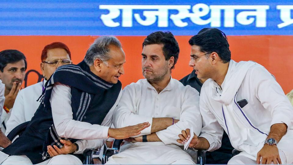 File photo of the rebel Congress leader Sachin Pilot (R) is seen with the then Congress President Rahul Gandhi and Rajasthan Chief Minister Ashok Gehlot during a party function in Jaipur on March 26, 2019.