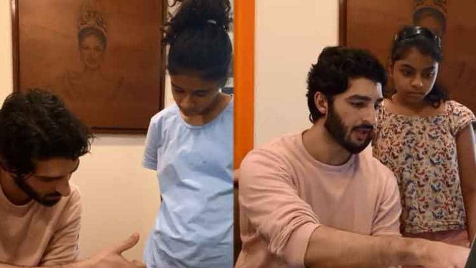 Rohman Shawl tutoring Sushmita Sen's daughter and her friend at home.