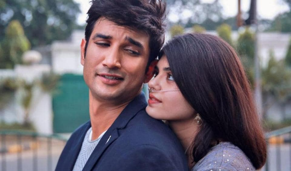 Sushant Singh Rajput and Sanjana Sanghi in a still from Dil Bechara.