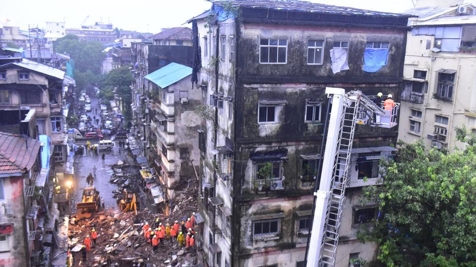 Fire brigade personnel held search operation for trapped persons in Bhanushali building, Fort, Mumbai, after a portion of the building collapsed on Thursday, July 16, 2020.