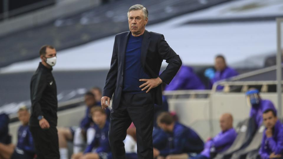 Everton's manager Carlo Ancelotti during the English Premier League soccer match between Tottenham Hotspur and Everton FC.