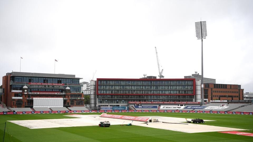 A general view of the covers as light rain falls prior to Day One of the 2nd #RaiseTheBat Test Match between England and The West Indies at Emirates Old Trafford on July 16, 2020 in Manchester, England. (Photo by Gareth Copley/Getty Images for ECB)