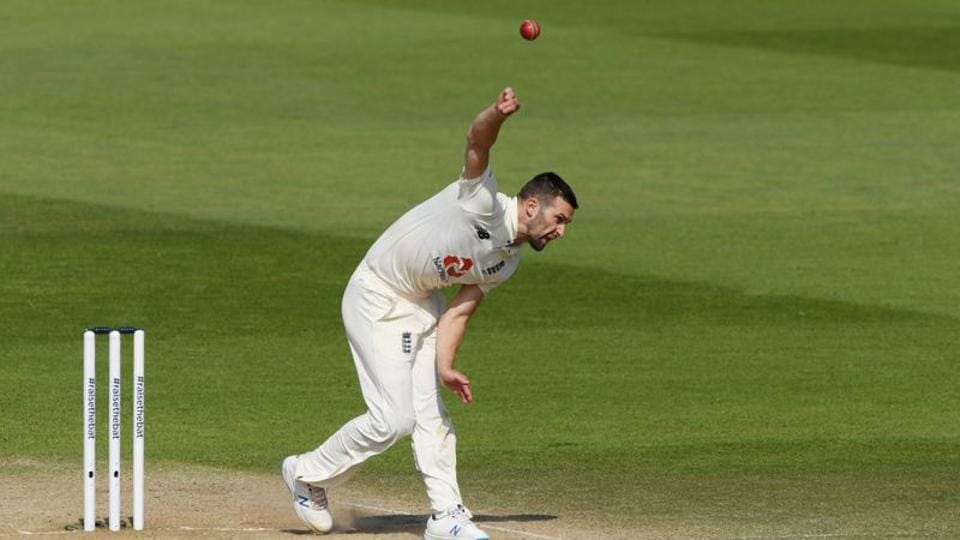 England's Mark Wood in action.