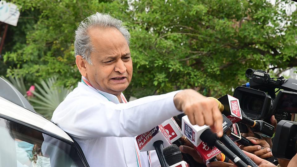 Rajasthan chief minister Ashok Gehlot talking to media persons outside Hotel Fairmont, in Jaipur, Rajasthan on Wednesday.
