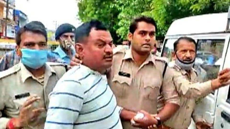 Gangster Vikas Dubey after being detained inMadhya Pradesh's Ujjain on July 9.