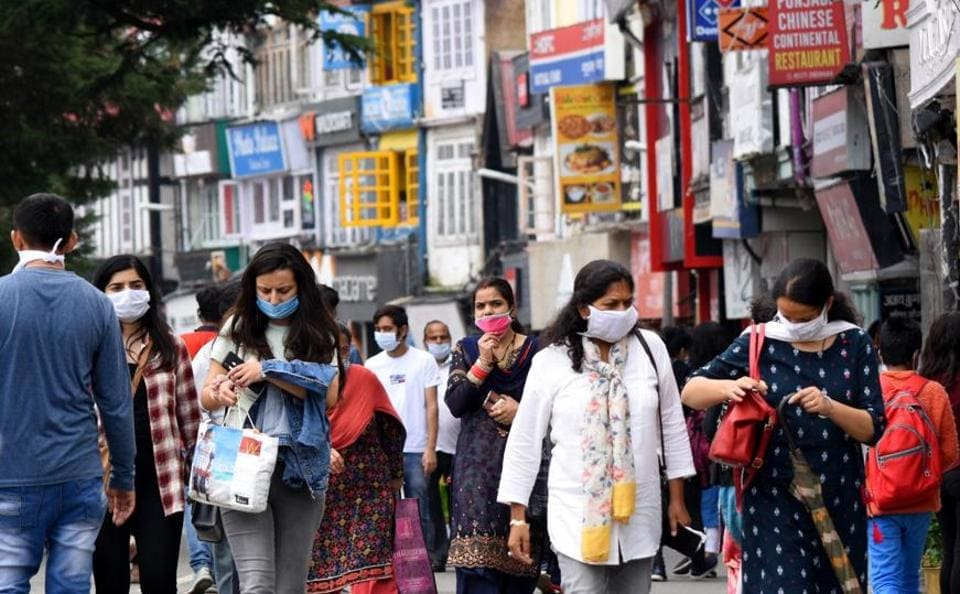 Tourists thronging the Mall in Shimla. On July 16, a family from Delhi stayed at the Circuit House at Chaura Maidan, Shimla, and one member tested positive for Covid-19.