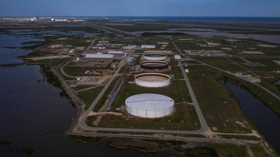 The Bryan Mound Strategic Petroleum Reserve, an oil storage facility, is seen in this aerial photograph over Freeport, Texas, US.