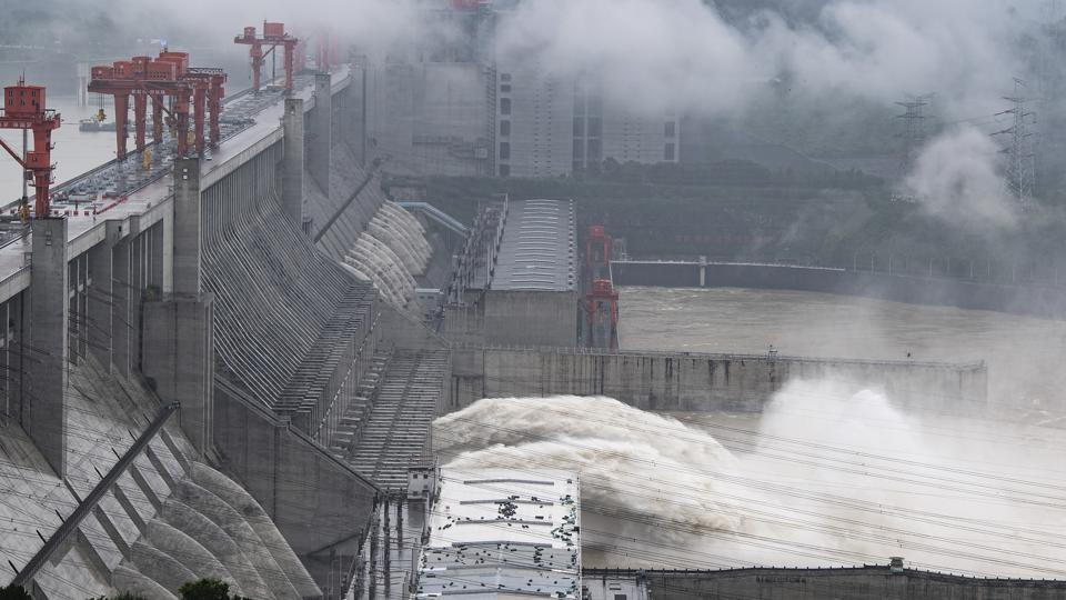 The dam was holding back about 45% of the water, Xinhua said, citing China Three Gorges Corp.