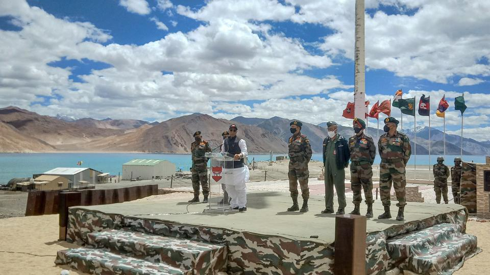 Defence Minister Rajnath Singh addresses Indian Army soldiers, at Lukung post in Ladakh.