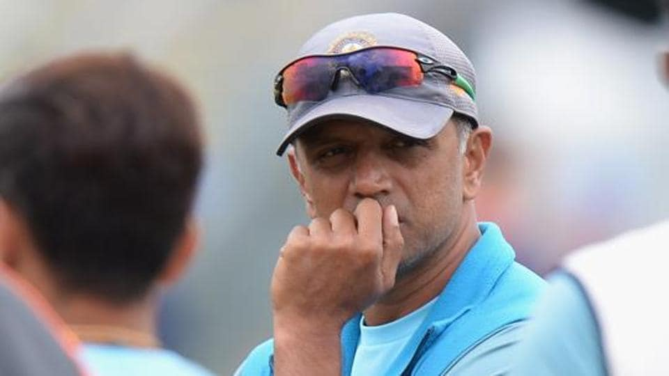 WORCESTER, ENGLAND - JULY 18: Rahul Dravid, coach of India A during Day Three of the Tour Match between England Lions and India A at New Road on July 18, 2018 in Worcester, England. (Photo by Tony Marshall/Getty Images)