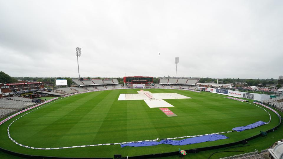 Manchester: The pitch area is seen covered after rain delayed start of the third day of the second cricket Test match between England and West Indies at Old Trafford in Manchester, England, Saturday, July 18, 2020. AP/PTI(AP18-07-2020_000083B) (AP)