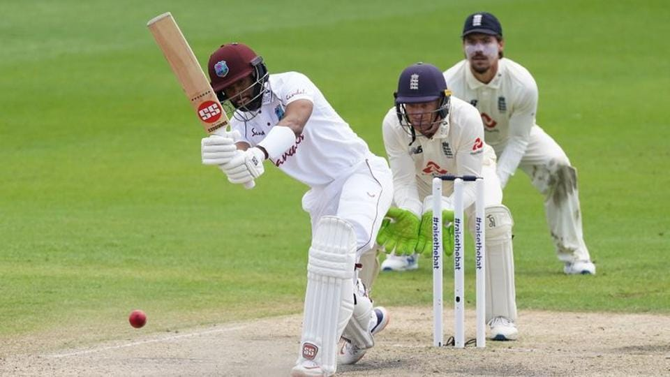 West Indies' Shai Hope in action, as play resumes behind closed doors following the outbreak of the coronavirus disease (COVID-19). (REUTERS)