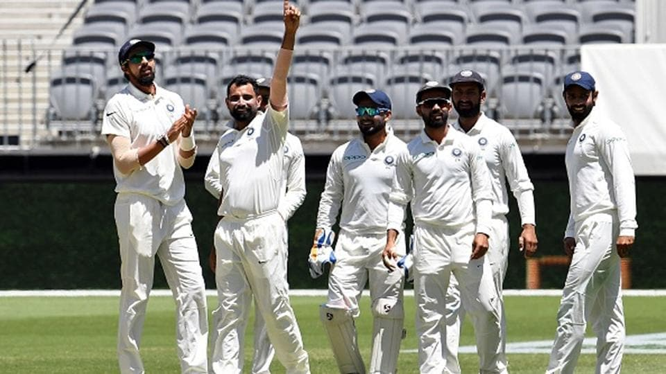Mohammed Shami celebrates a Test wicket for India.