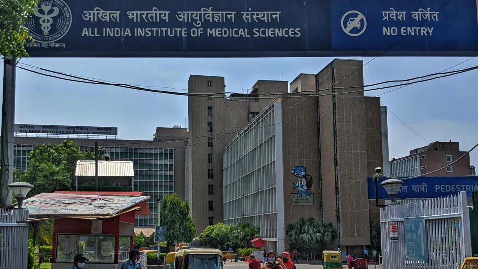 A view of the main entrance to the OPD at All India Institute of Medical Sciences (AIIMS), in New Delhi.