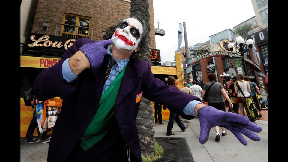 Fan Stuart Mazzeo, dressed as the Joker, on day two of Comic-Con International held at the San Diego Convention Centre on July 13, 2012. (Denis Poroy/Invision/AP)