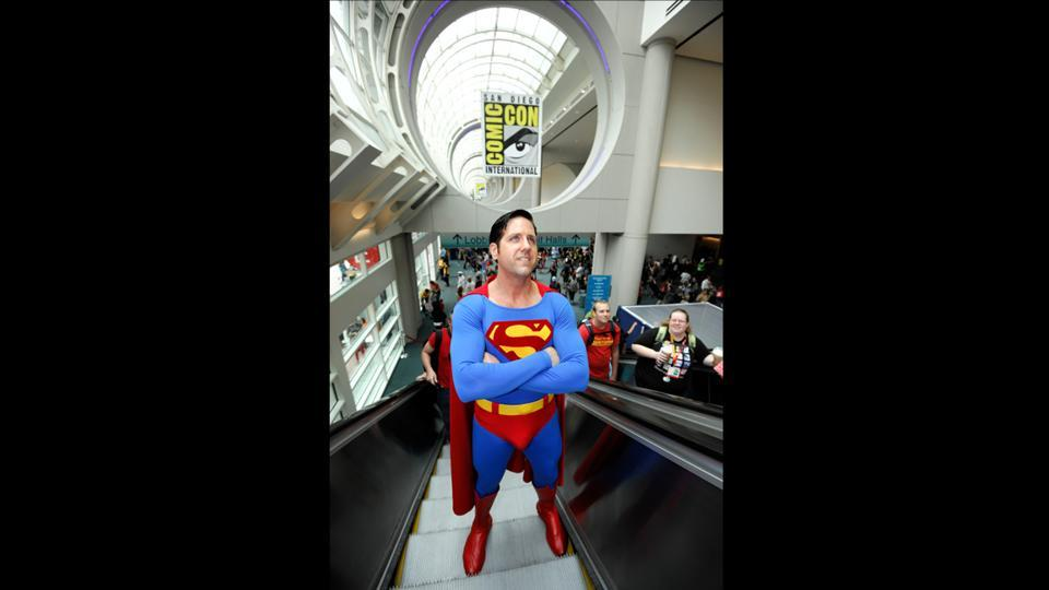 A man dressed as Superman on day one of Comic-Con International held at the San Diego Convention Centre on July 12, 2012. (Denis Poroy/Invision/AP)