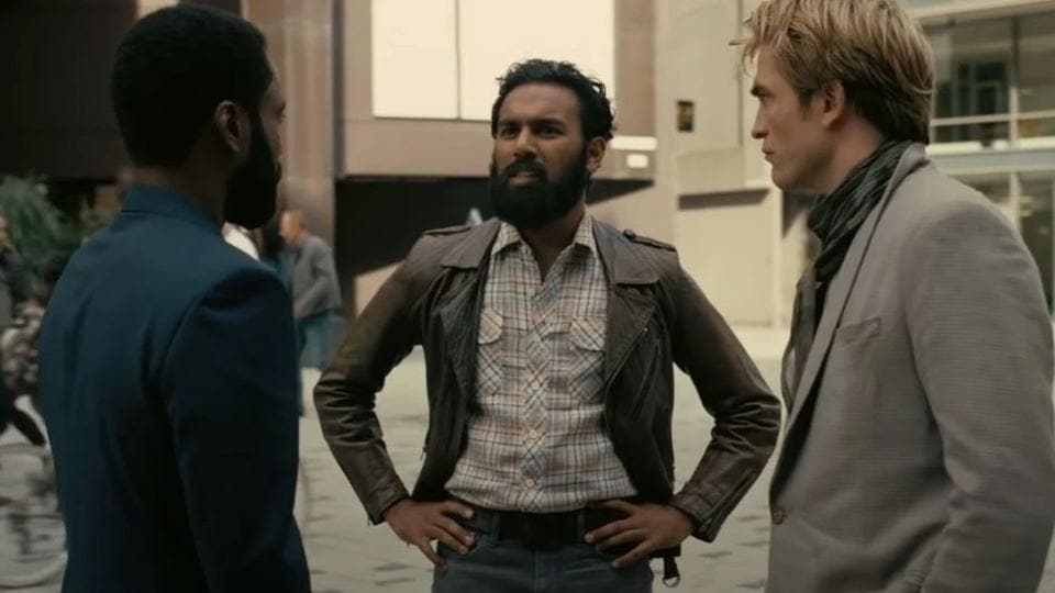 Himesh Patel with Robert Pattinson and John David Washington, in a still from Tenet.