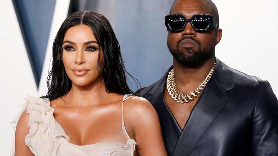 Kim Kardashian and Kanye West attend the Vanity Fair Oscar party in Beverly Hills during the 92nd Academy Awards.