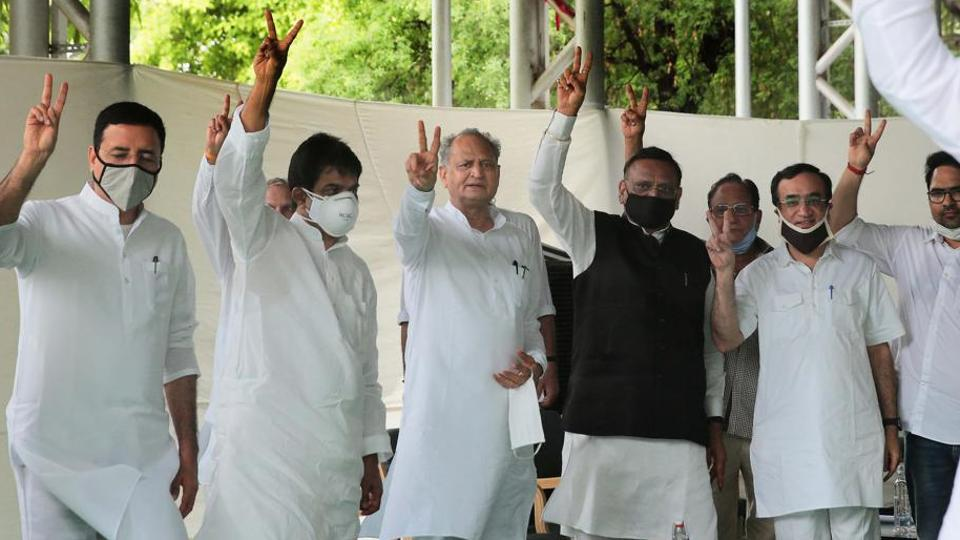 Chief Minister Ashok Gehlot with senior Congress leaders Randeep Surjewala, K C Venugopal, Ajay Maken and others during a meeting of the party's MLAs at his residence in Jaipur.