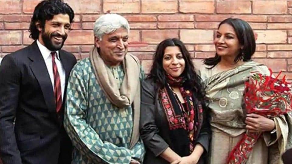 Javed Akhtar poses with his family.