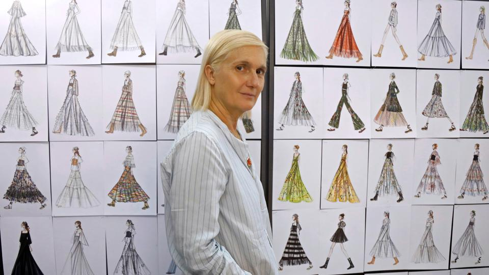 Designer Maria Grazia Chiuri poses ahead of the 2021 Cruise collection presentation for fashion house Dior in Paris, France, July 16, 2020.  (REUTERS/Charles Platiau)