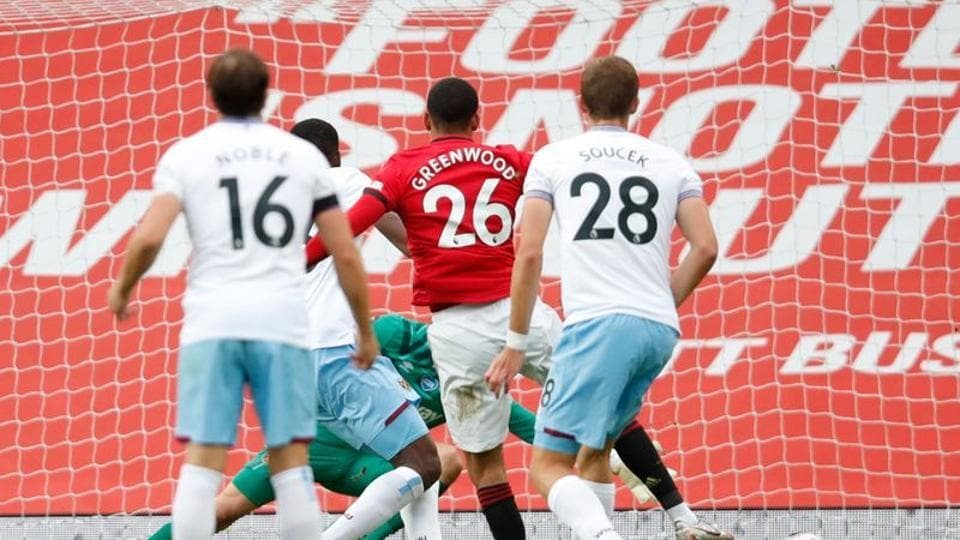 Soccer Football - Premier League - Manchester United v West Ham United - Old Trafford, Manchester, Britain - July 22, 2020 Manchester United's Mason Greenwood scores their first goal, as play resumes behind closed doors following the outbreak of the coronavirus disease (COVID-19) Pool via REUTERS/Clive Brunskill