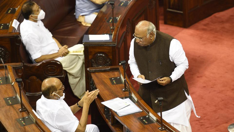 Congress leader Mallikarjun Kharge, a new member, in conversation with sitting Rajya Sabha member Sharad Pawar of the NCP on July 22. In total, 61 members have been elected to the house of which 49 are first-timers, HT reported. Lawmakers who were unable to participate in the ceremony with now take oath during the monsoon session. (Arvind Yadav / HT Photo)