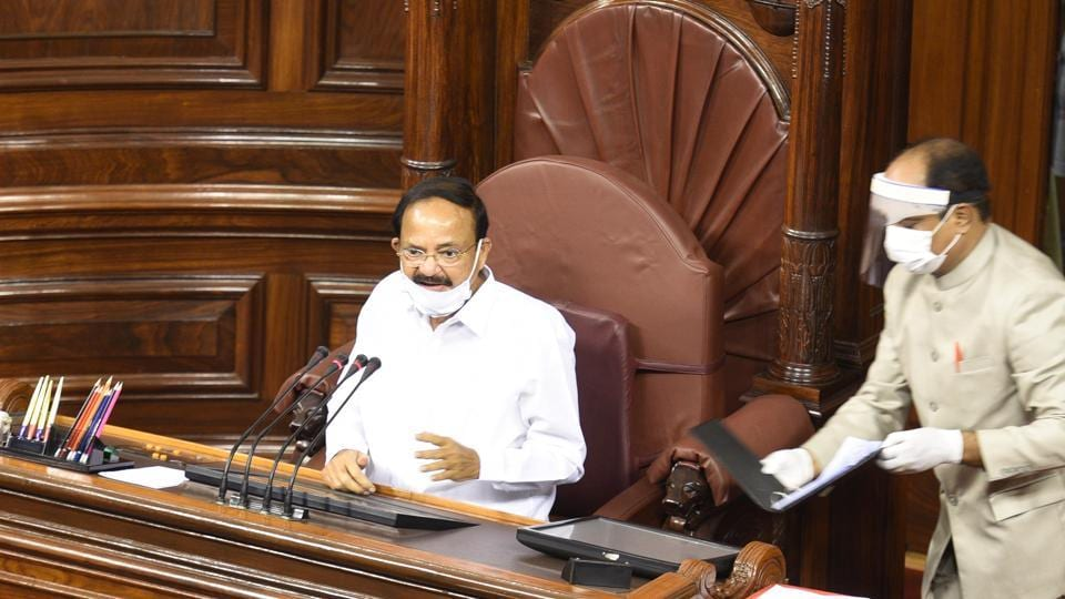 Chairman of the Rajya Sabha M Venkaiah Naidu urged the lawmakers to uphold rules and procedures when discharging their duties and not fall prey to disruptions. He said his plan to administer oath earlier had to be put on hold due to the coronavirus-induced travel restrictions and concerns by members over travelling long distance, PTI reported. (Arvind Yadav / HT Photo)