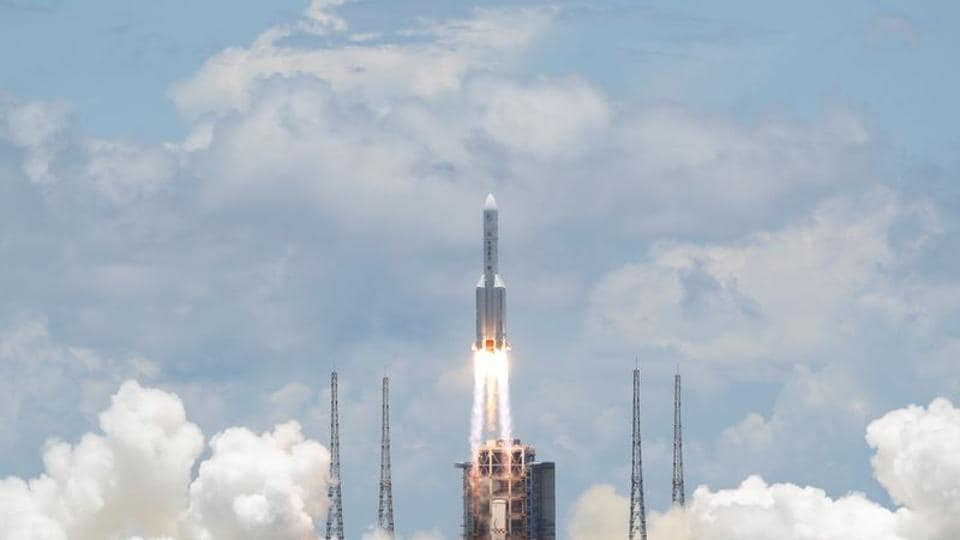 Livestreams showed a successful lift-off, with rockets blazing orange and the spacecraft heading upward across clear blue skies.