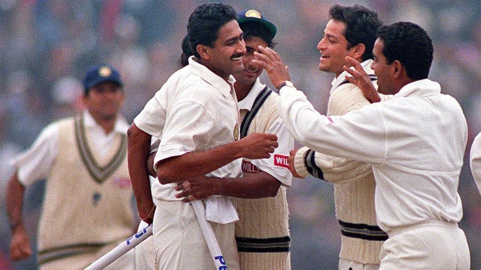 Anil Kumble picked up all 10 Pakistan wickets to help India to a series-levelling win in 1999.