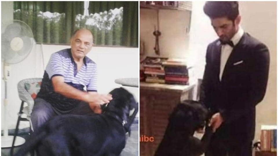 Sushant Singh Rajput pet Labrador with the late actor and his father.