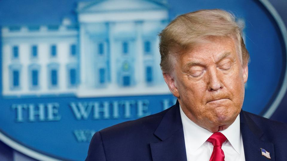 US President Donald Trump speaks during a coronavirus disease (Covid-19) news briefing at the White House in Washington, US.