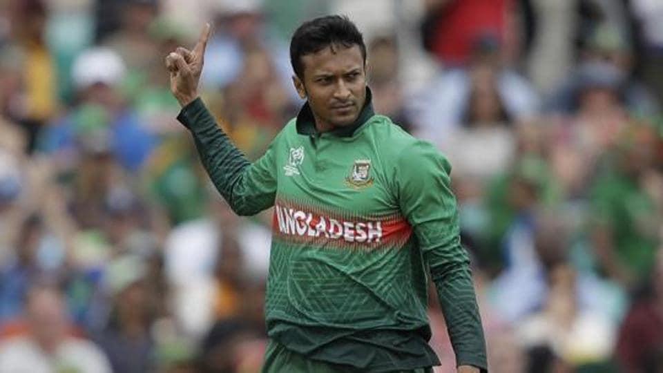 Bangladesh's Shakib Al Hasan celebrates taking the wicket of South Africa's Aiden Markram.