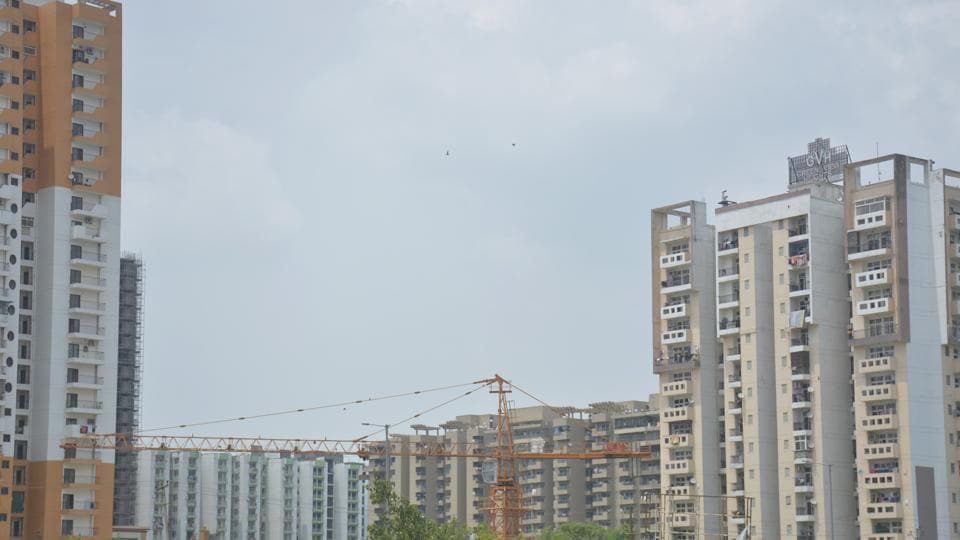 A view of highrise buildings, at Raj Nagar Extension, in Ghaziabad.