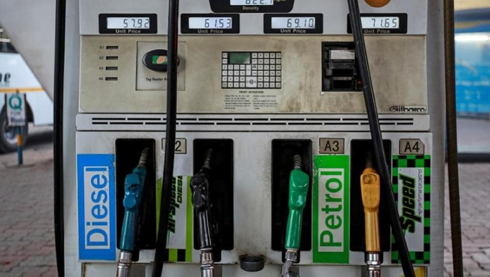 Fuel pumps are seen at a Bharat Petroleum gas station in Mumbai.