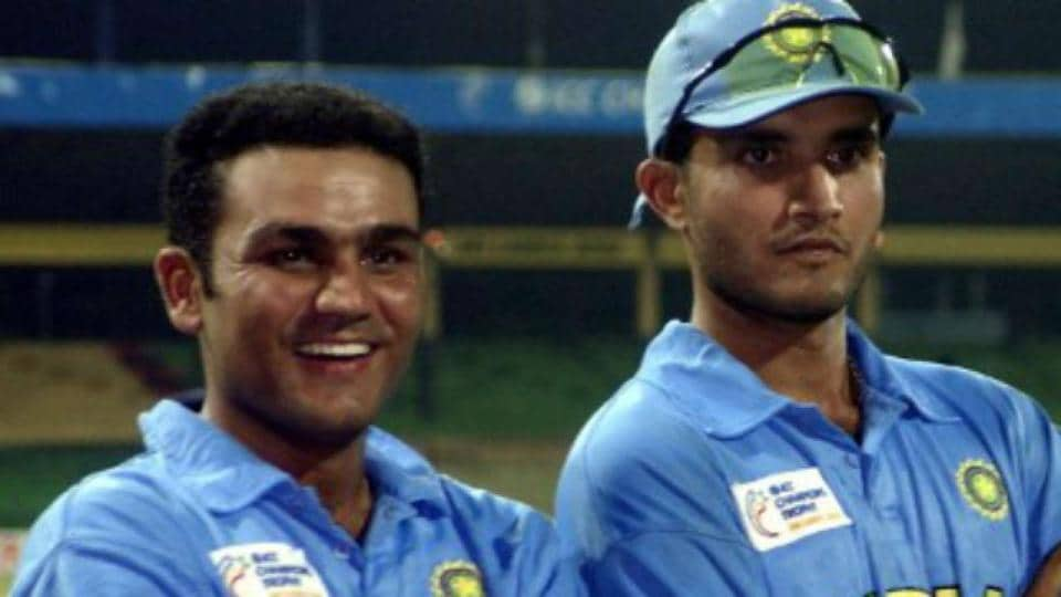 File image of Virender Sehwag with Sourav Ganguly.